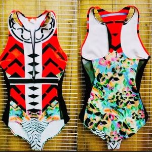 Clover Canyon Swim - Clover Canyon tribal floral one piece swimsuit -S